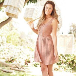 Lauren Conrad Nude Polka Dot Pleated Mini Dress
